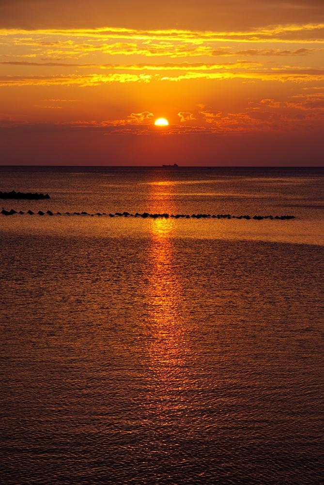 【松崎海岸からの夕陽】