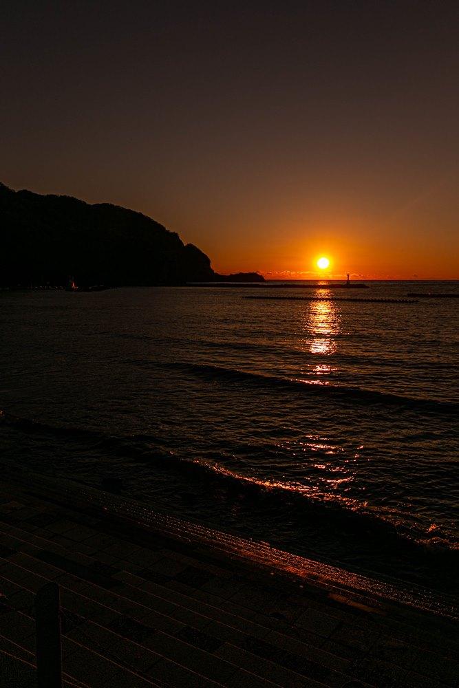 松崎海岸からの夕陽