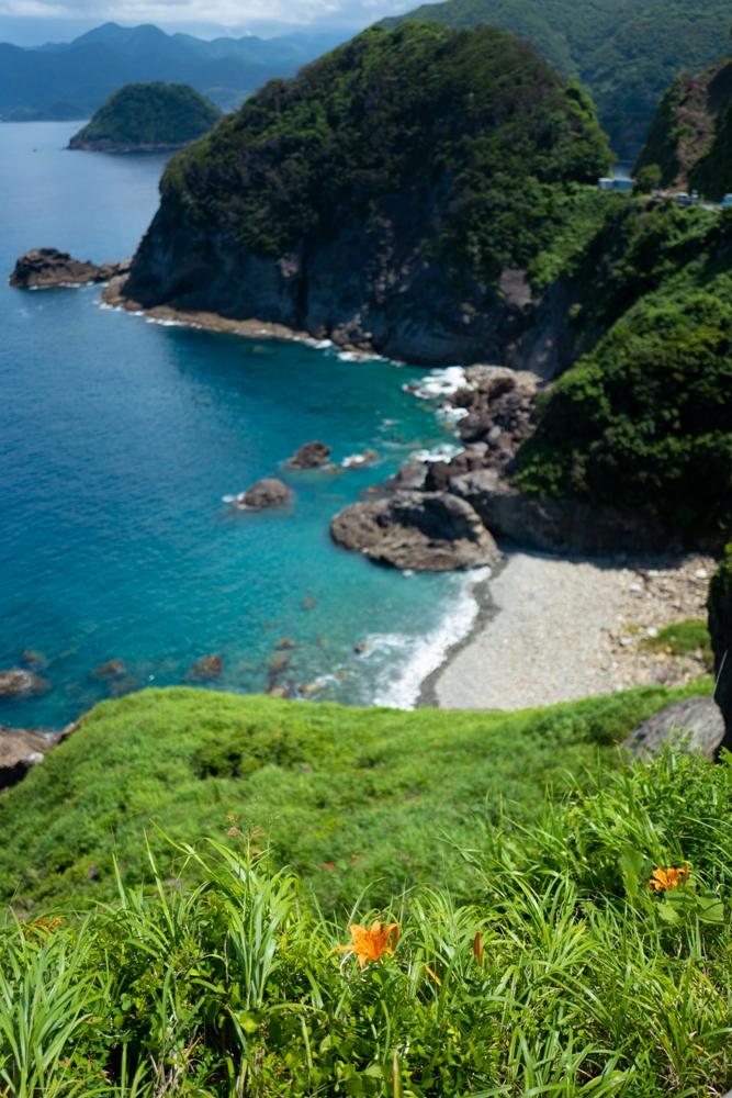 【雲見の黒崎】青景色とハマカンゾウの花が夏景色を演出